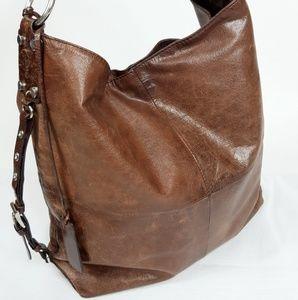 Tano Brown Leather Hobo Shoulder Bag